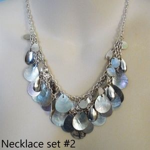 Silver Seashell iridescent necklace & earring set